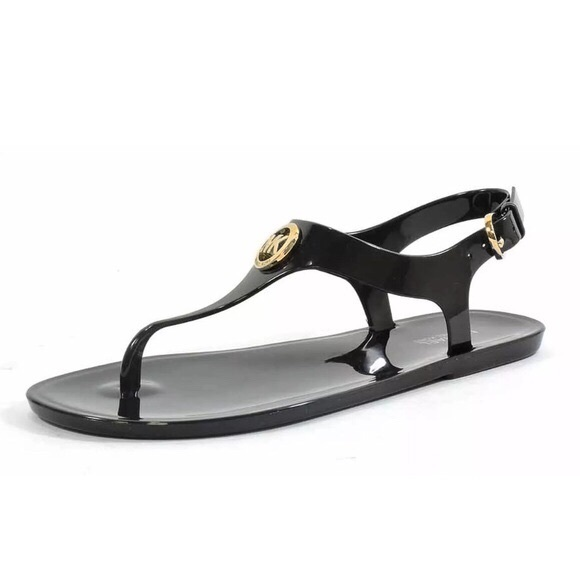 d06b26fae1b Michael Kors jelly thong Sandals black and gold 8.  M 5b7381c2dcf855b17143017c